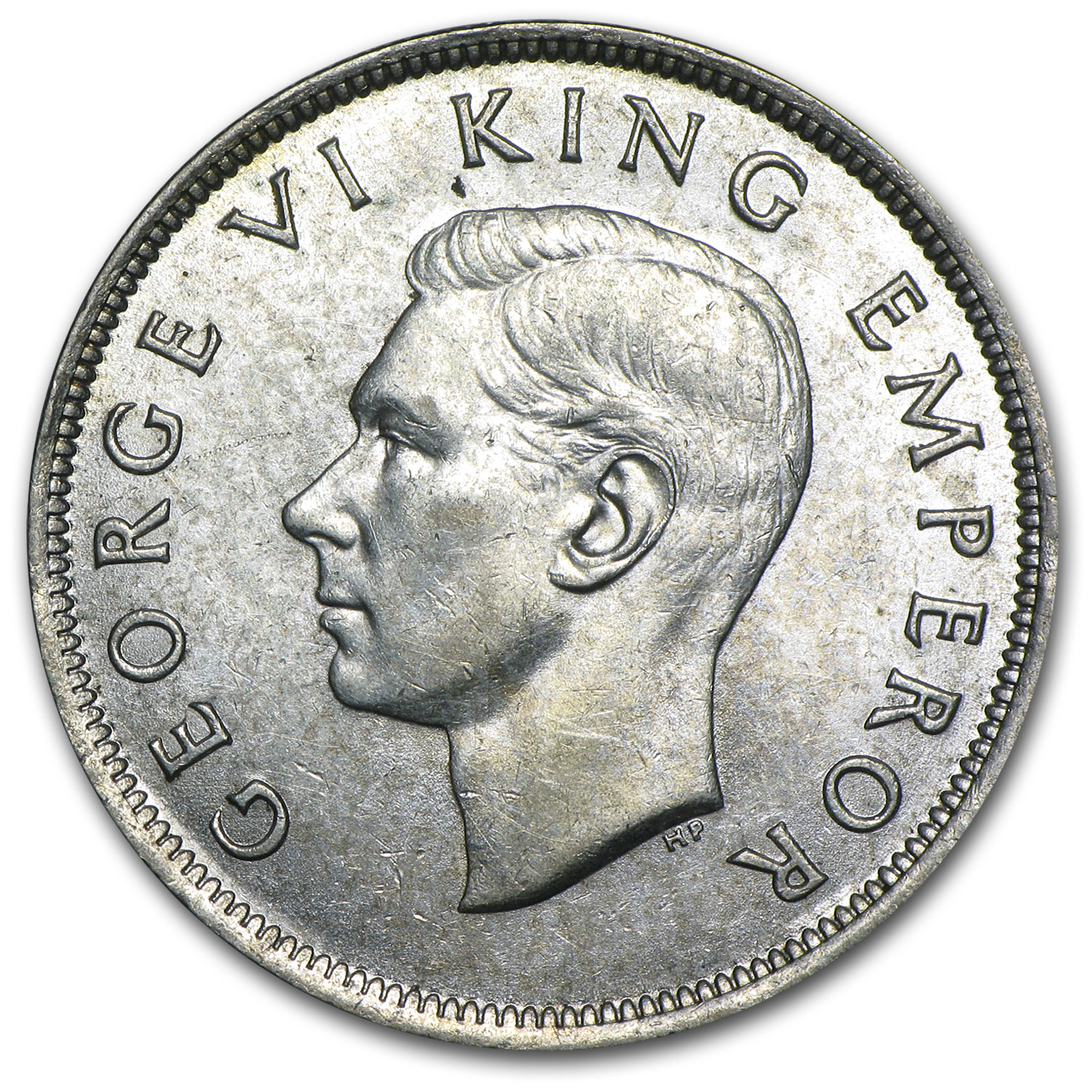 New Zealand Silver 1/2 Crown George VI AU