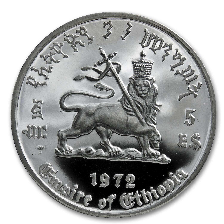 1972 Ethiopia Silver 5 Dollar Haile Selassie Proof