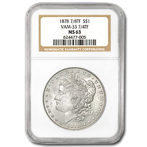 1878 Morgan Dollar 7/8 Tailfeathers MS-63 NGC VAM-33