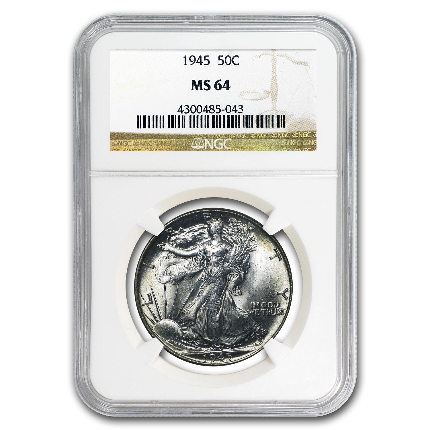 1945 Walking Liberty Half Dollar MS-64 NGC