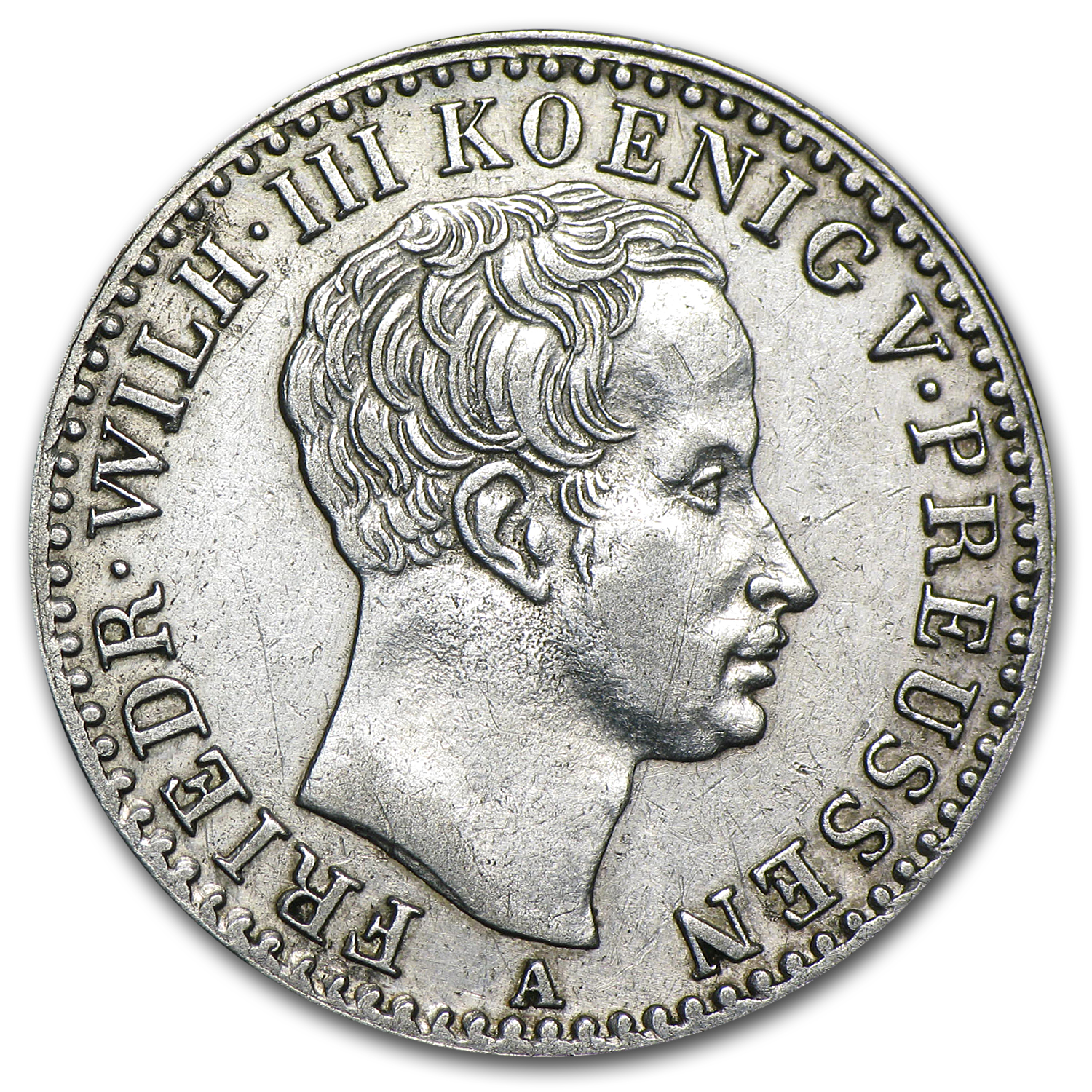 1822-A Prussia Silver 1/6 Thaler VF +