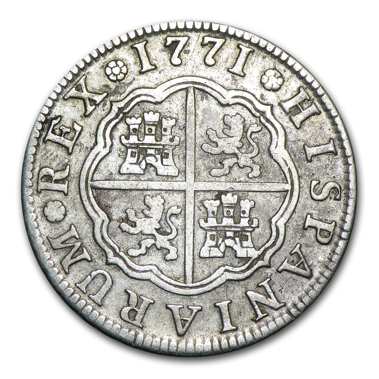 Spain 1771 PJ 2 Reales Silver Extra Fine Charles III
