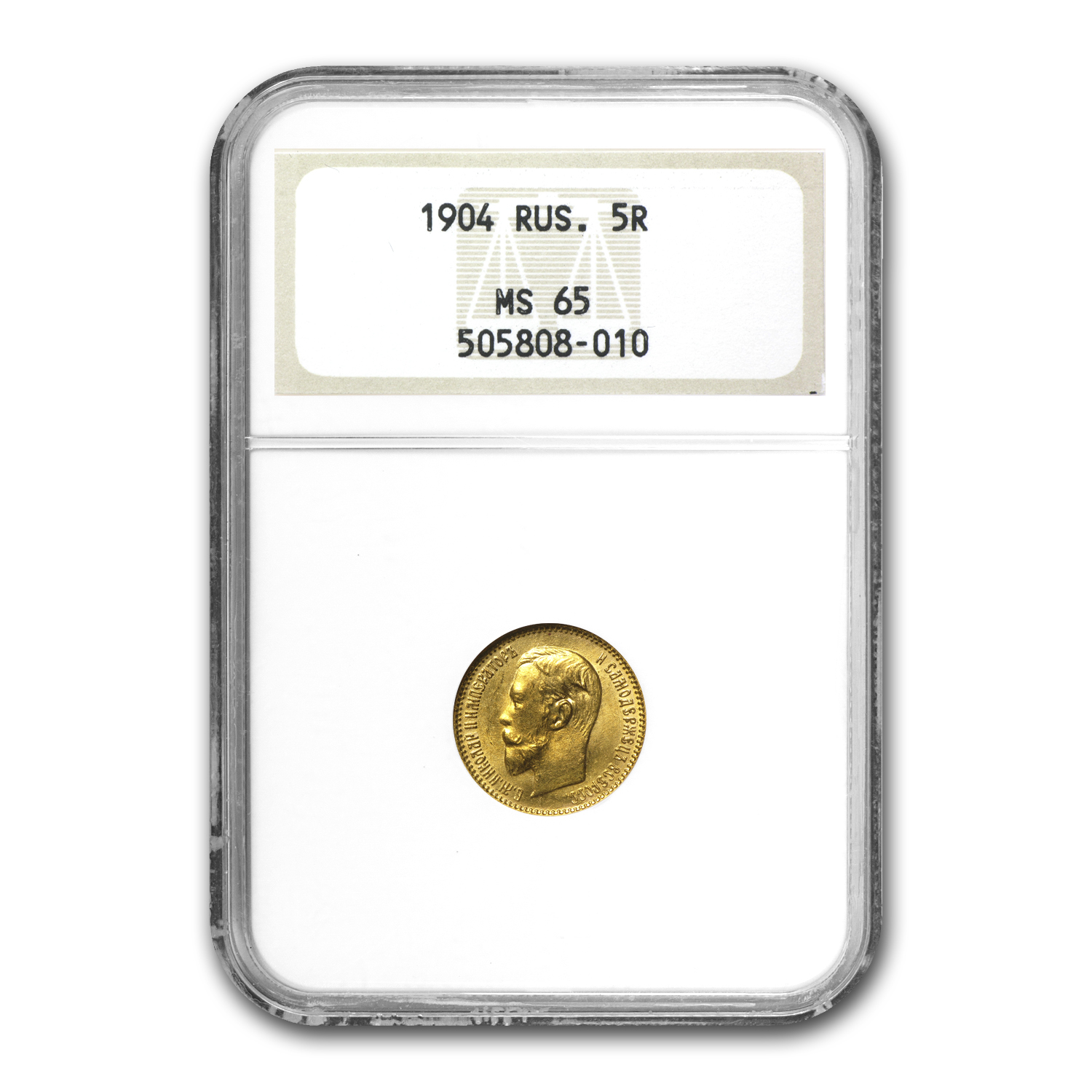 1904 Russia Gold 5 Roubles Nicholas II MS-65 NGC