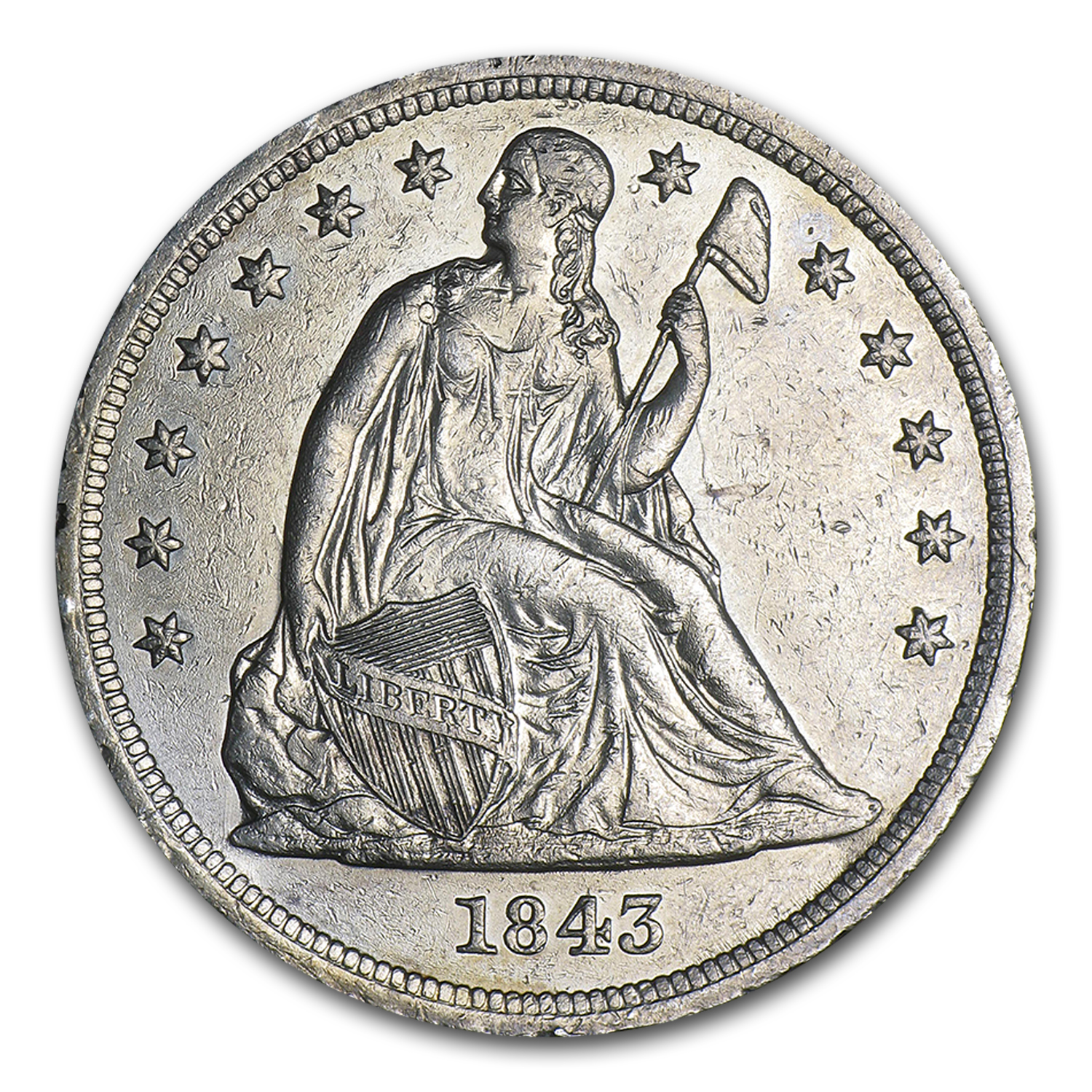 1843 Liberty Seated Dollar AU Details (Cleaned)