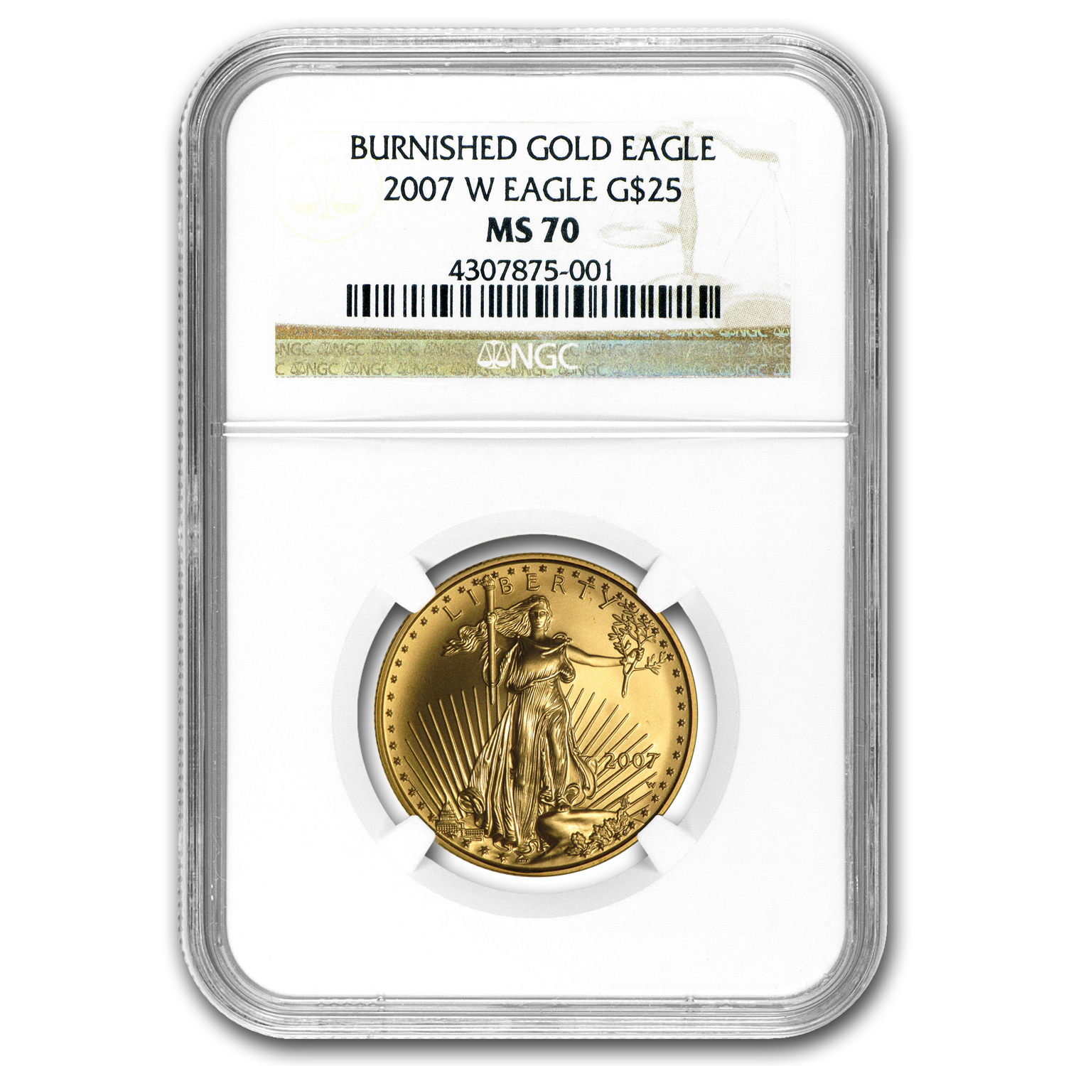 2007-W 1/2 oz Burnished Gold American Eagle MS-70 NGC