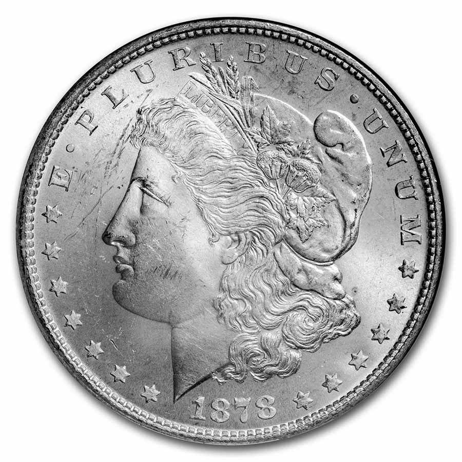 1878 Morgan Dollar 7 TF Rev of 79 MS-63 NGC
