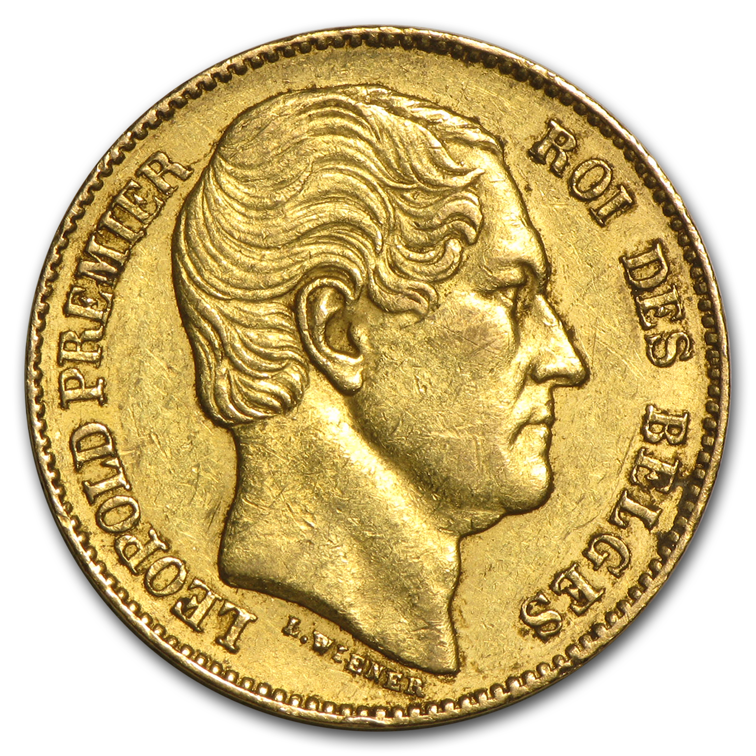 1865 Belgium Gold 20 Francs Leopold I Average Circ