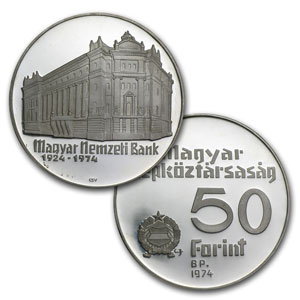 Hungary Silver 50 Forint BU/Proof (Random Dates, ASW .3292)