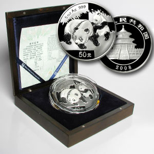 2008 China 5 oz Silver Panda Proof (w/Box & COA)