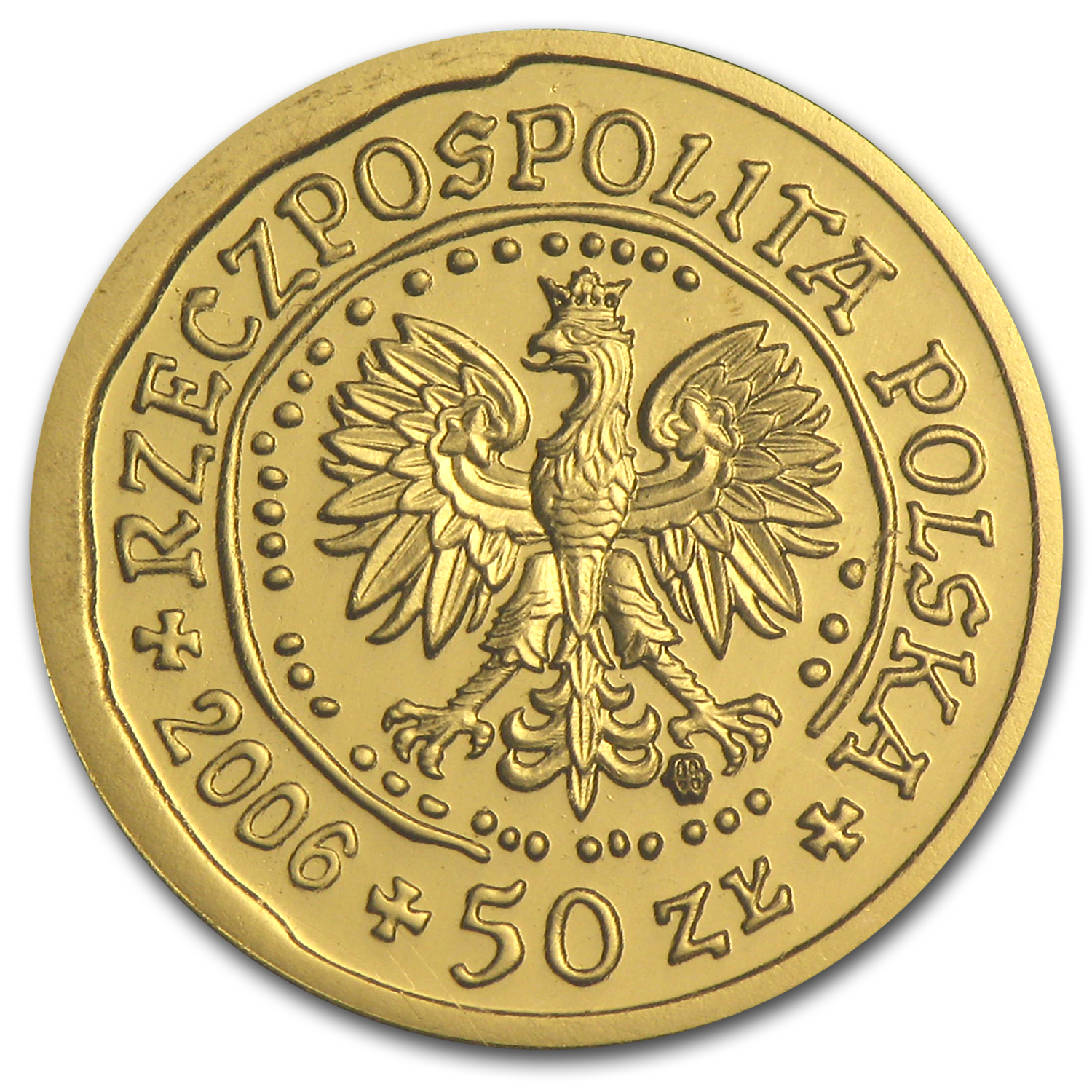 2006 Poland 1/10 oz Gold 50 Zlotych BU