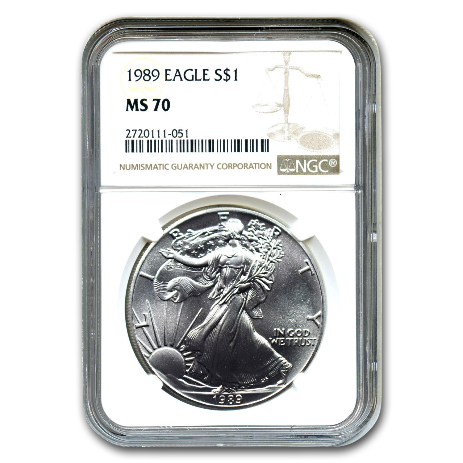 1989 Silver American Eagle MS-70 NGC (Registry Set)