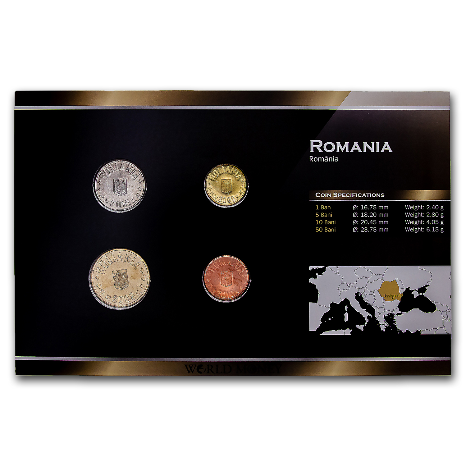 2005-2007 Romania 1-50 Bani 4-Coin Set BU