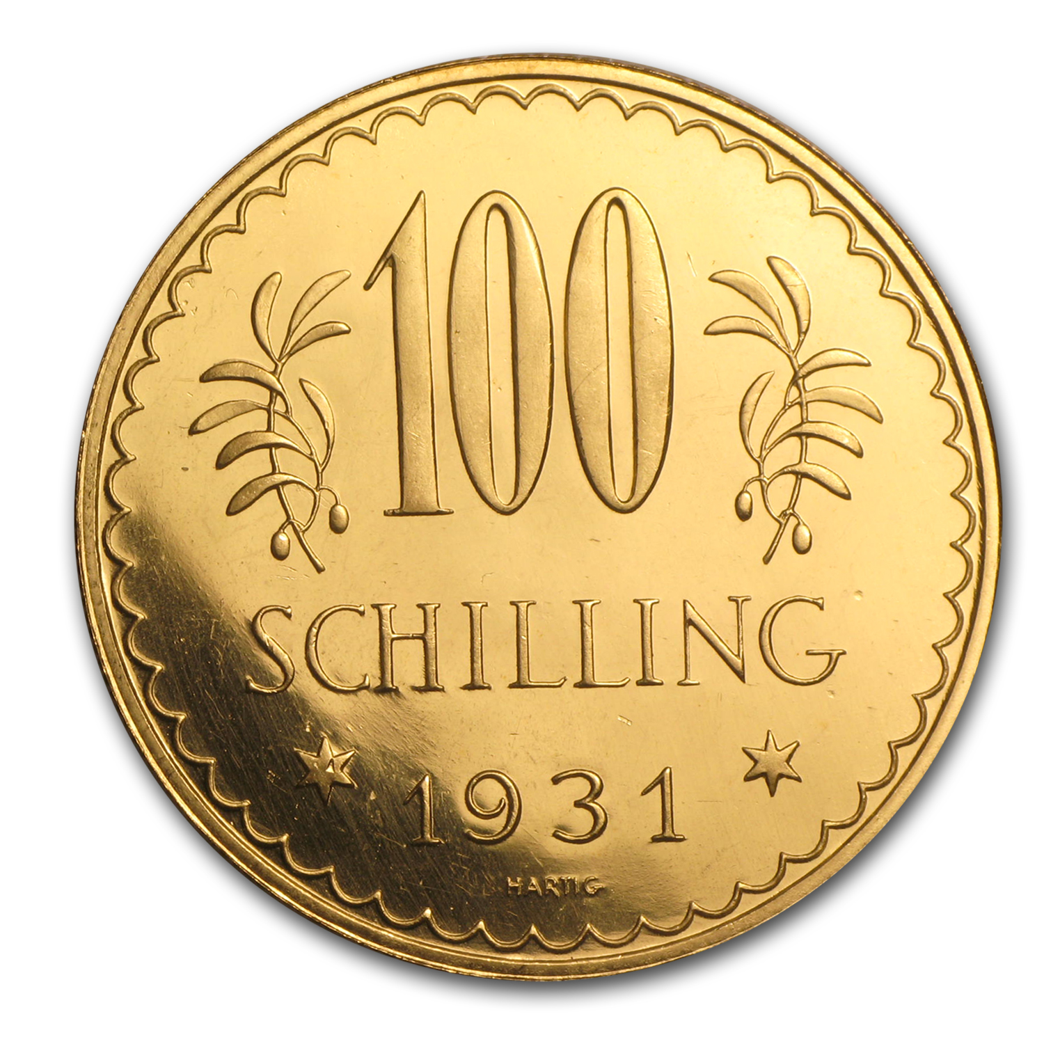 1931 Austria Gold 100 Schilling Prooflike