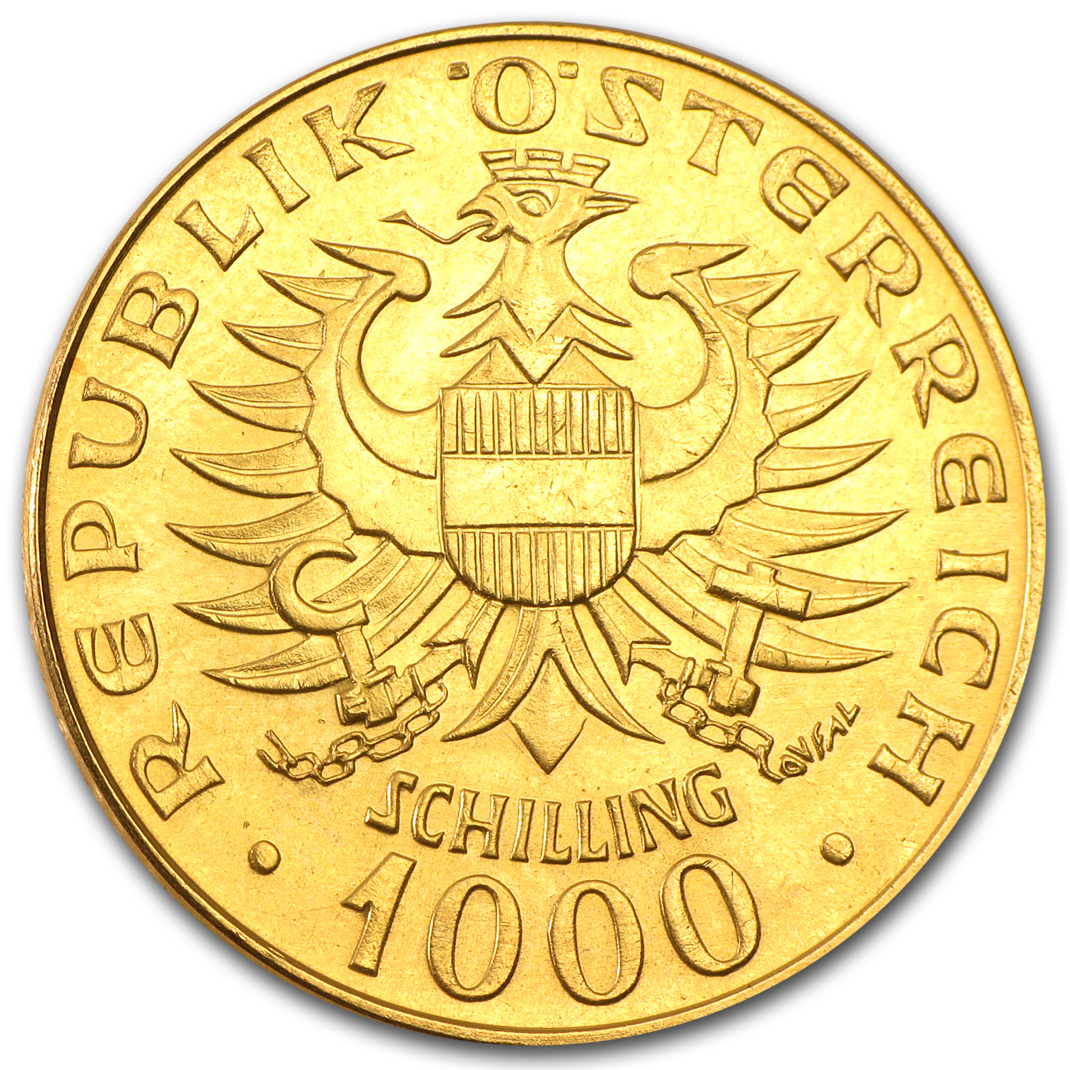 Austria 1976 1000 Schillings Gold Coin AGW .3906