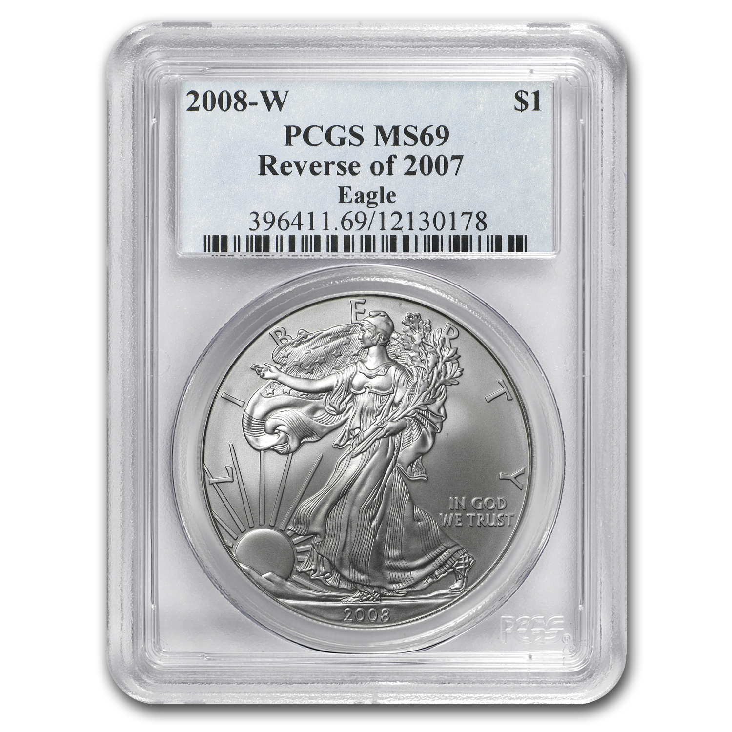 2008-W (Burnished) Silver American Eagle MS-69 PCGS (Rev '07)