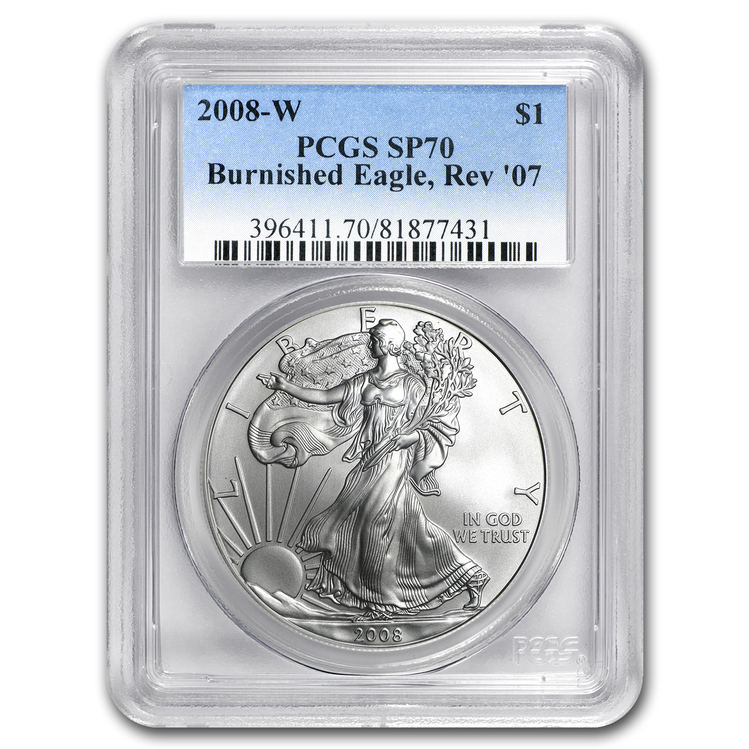 2008-W (Burnished) Silver American Eagle MS-70 PCGS (Rev '07)