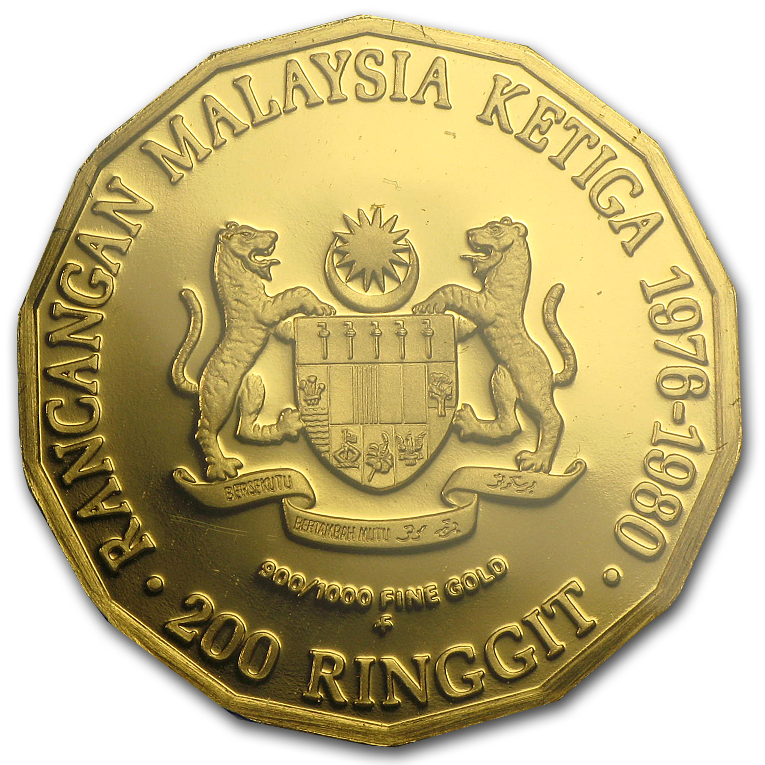 1976 Malaysia Gold 200 Ringgit Third 5-Year Plan Proof