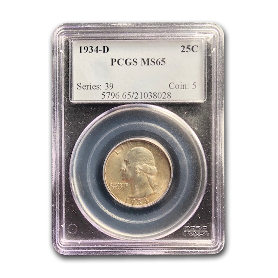 1934-D Washington Quarter MS-65 PCGS