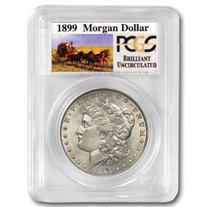1899 Brilliant Uncirculated PCGS Stage Coach Silver Dollars
