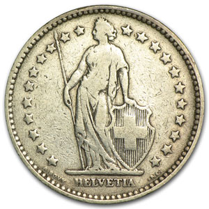 1894 Switzerland Silver 2 Francs Fine+
