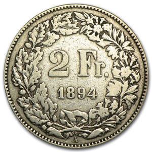 Switzerland 1894 Silver 2 Francs Fine+