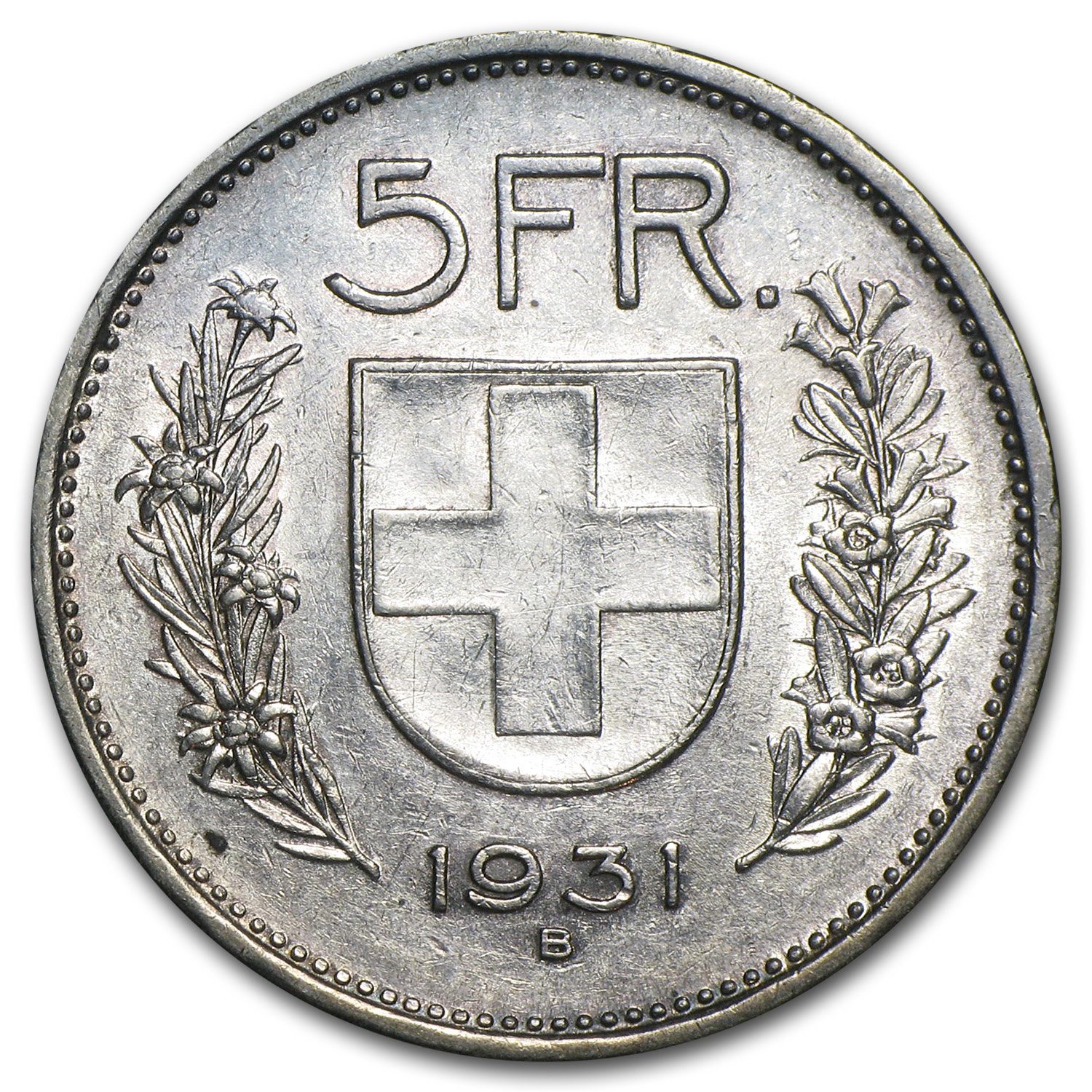 1931 Switzerland Silver 5 Francs William Tell XF