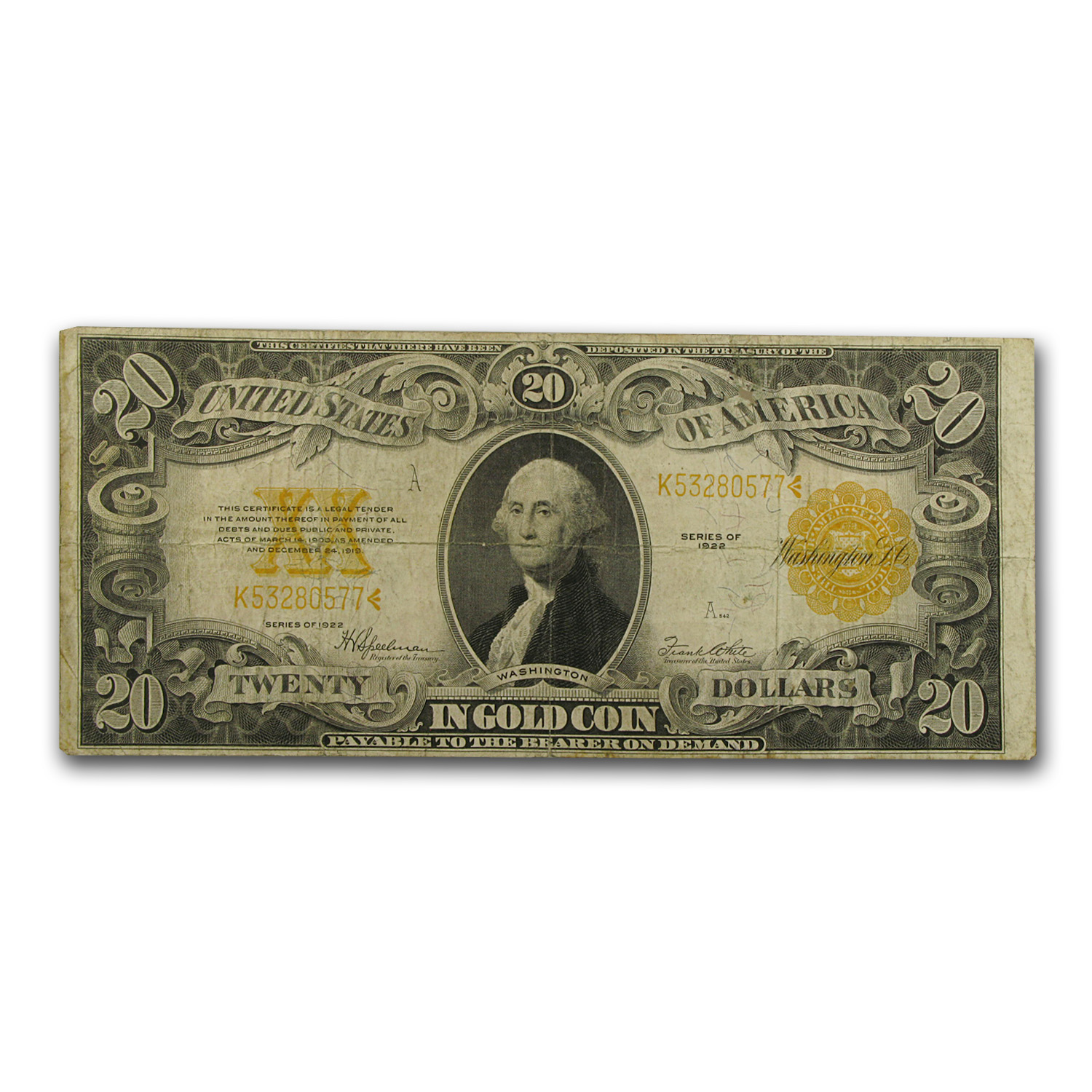 1922 $20 Gold Certificate - (Very Good)