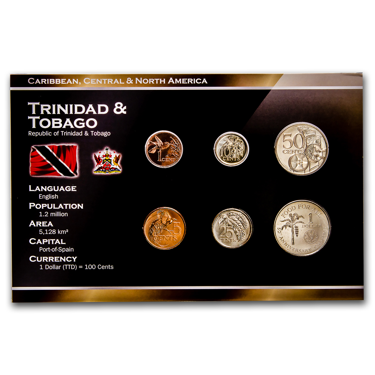 1978-2004 Trinidad & Tobago 1 Cent - 1 Dollar 6 Coin Set BU