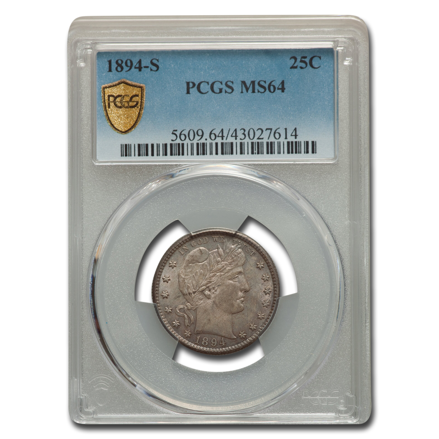 1894-S Barber Quarter MS-64 PCGS