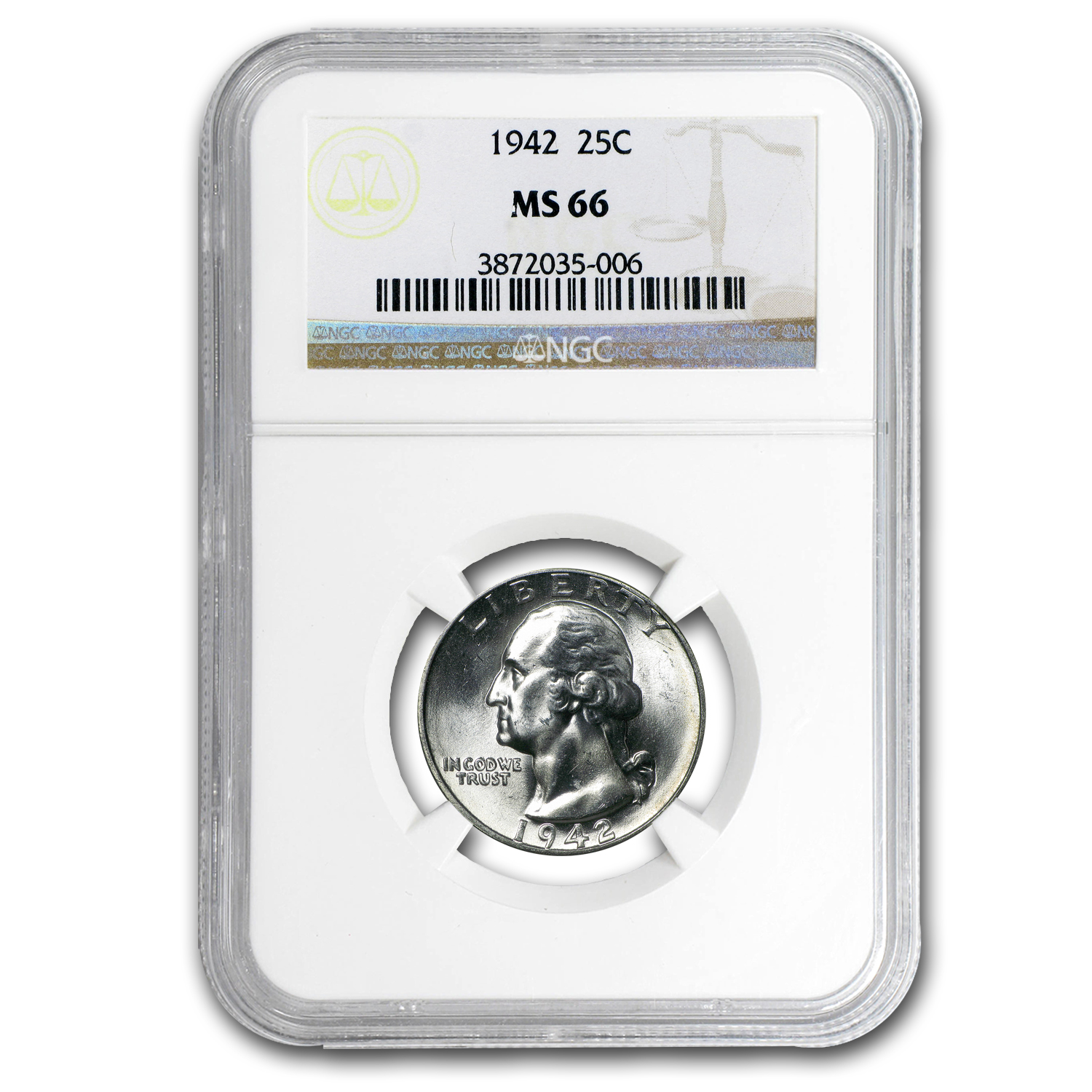 1942 Washington Quarter MS-66 NGC