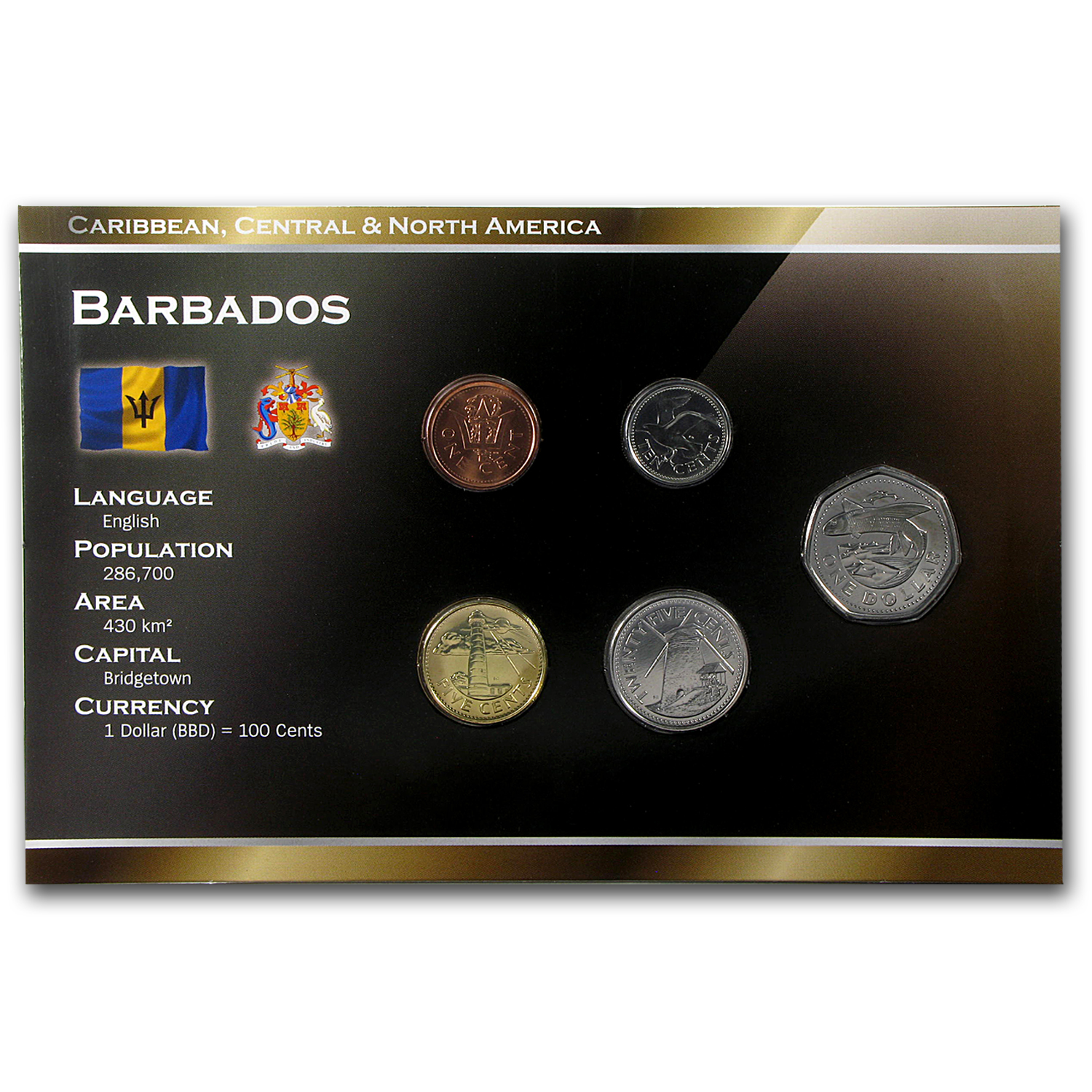 1999-2009 Barbados 1 Cent-1 Dollar Coin Set BU