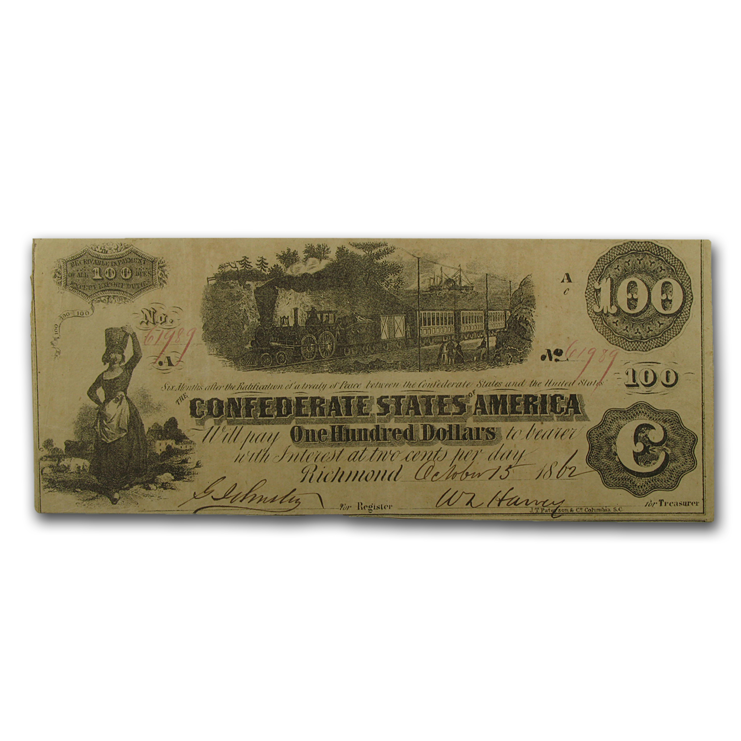 1862 CSA $100 (T-40) Train Diffused Steam VF