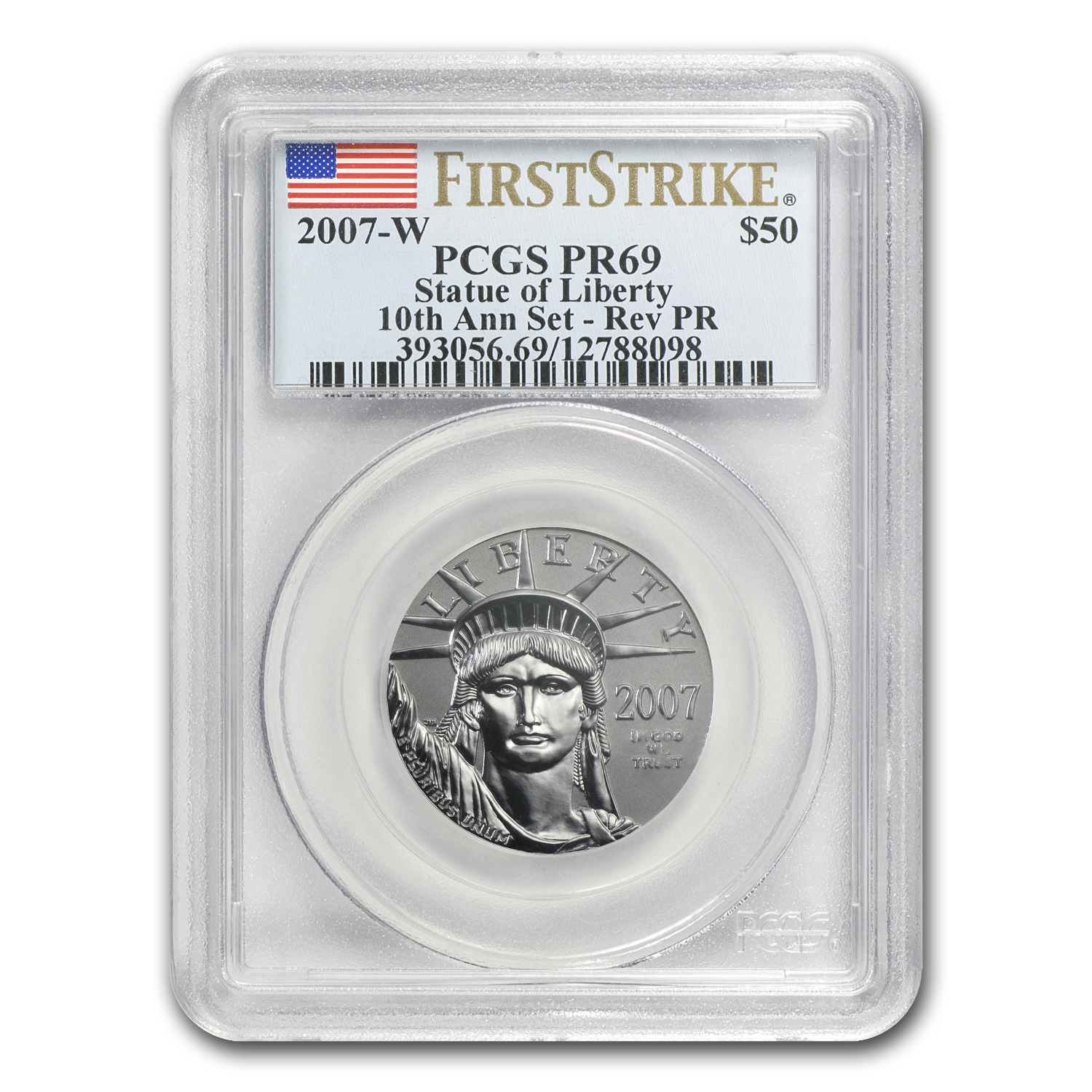 2007-W 1/2 oz Reverse Proof Platinum Eagle PR-69 PCGS (FS)