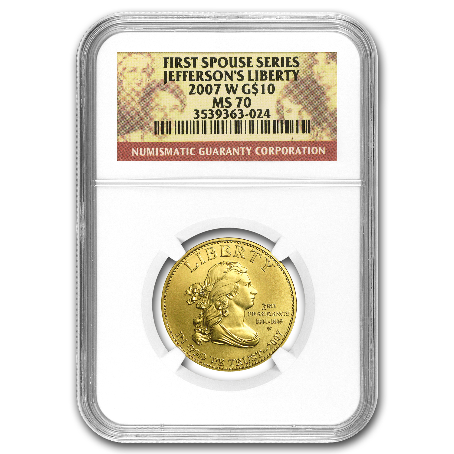 2007-W 1/2 oz Gold Jefferson's Liberty MS-70 NGC