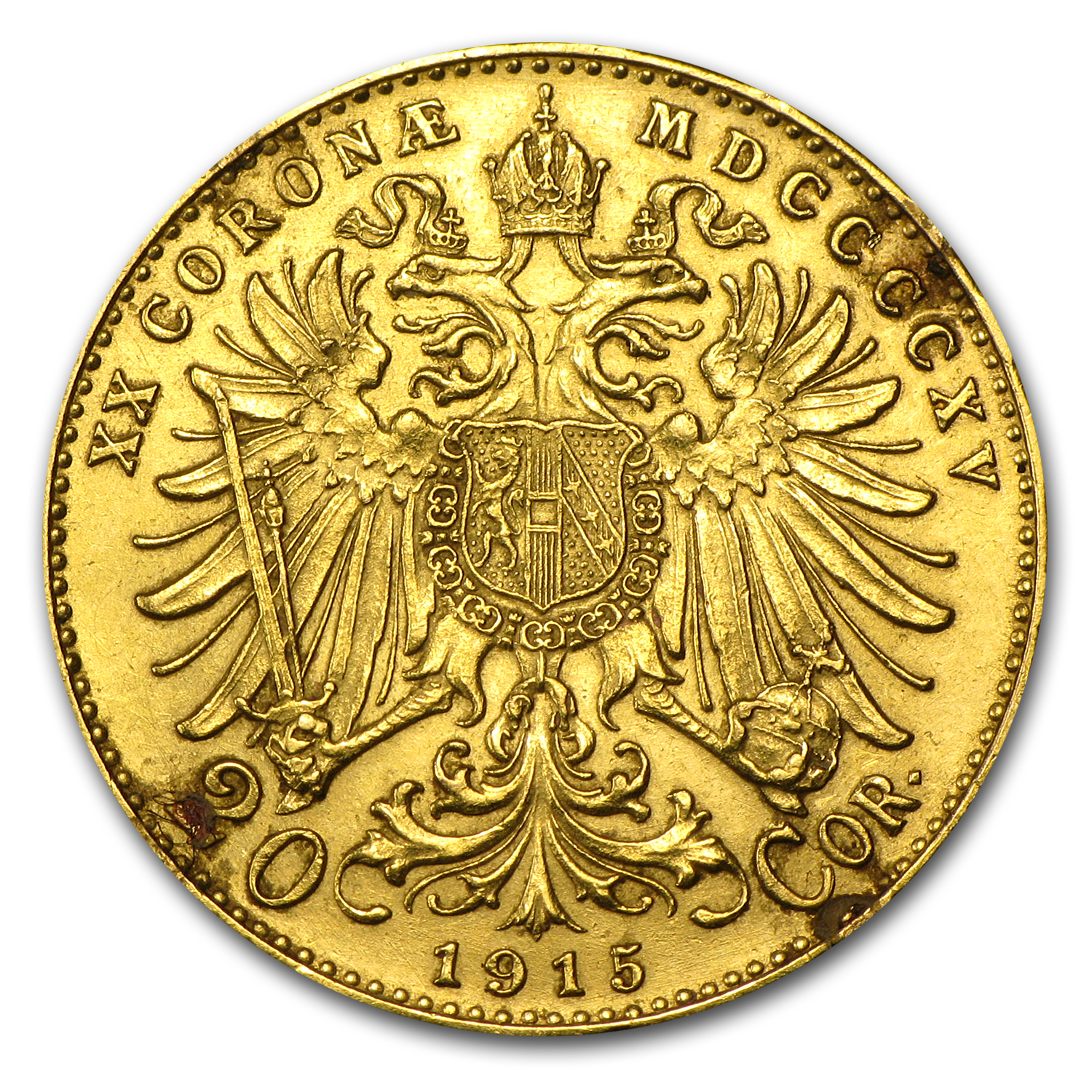 1915 Austria Gold 20 Coronas (Restrikes, Well worn)