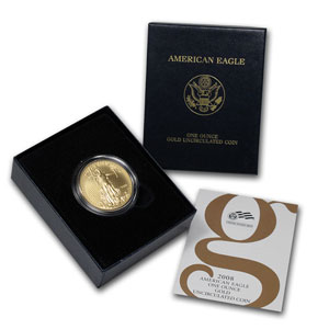 2008-W 1 oz Burnished Gold Eagle (w/Box & COA)