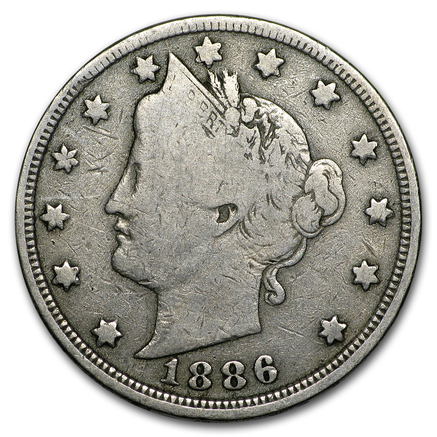 1886 Liberty Head V Nickel VG-8
