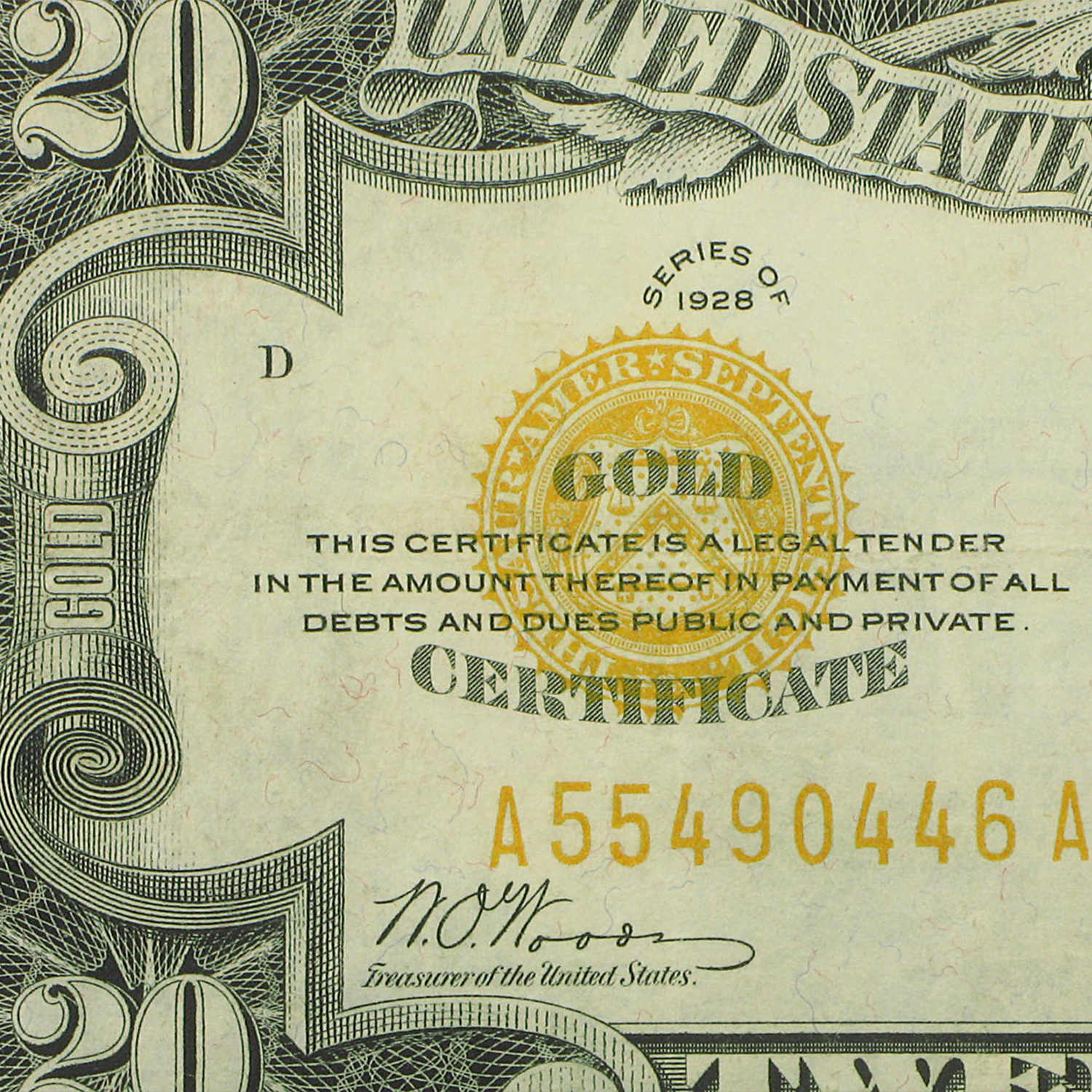 1928 $20 Gold Certificate (Very Fine)