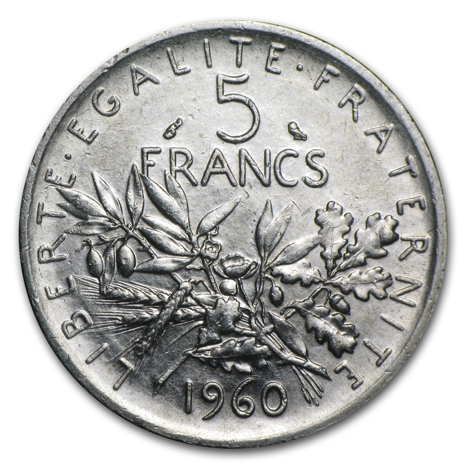 France Silver 5 Francs 1960-1969 ASW .3221