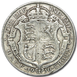 1911-1919 Great Britain Silver Half Crown George V Avg Circ
