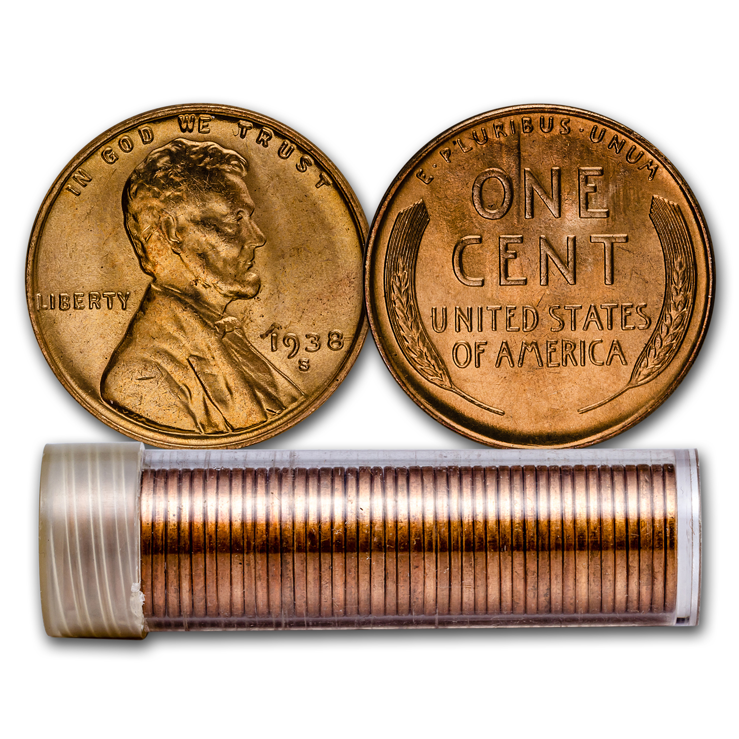 1938-S Lincoln Cent 50-Coin Roll BU