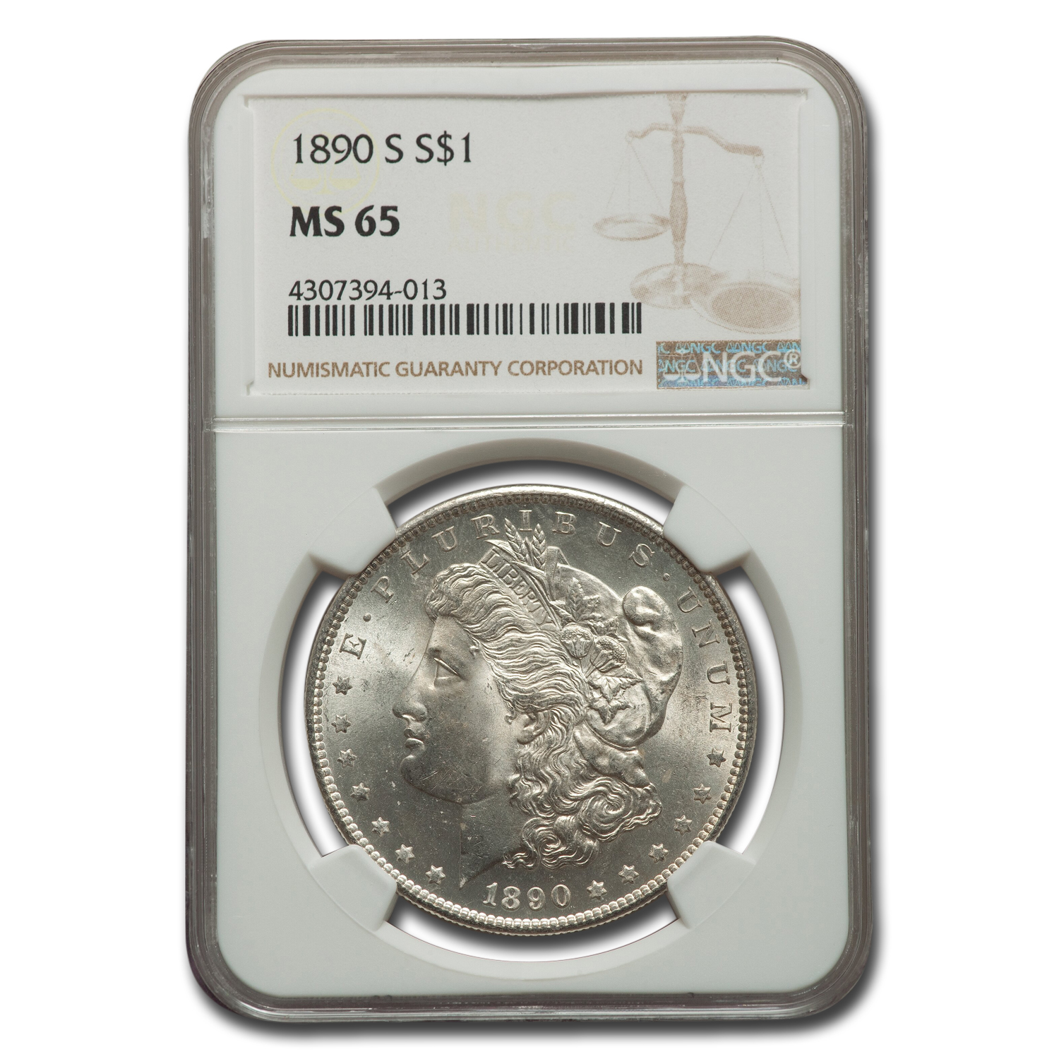 1890-S Morgan Dollar MS-65 NGC