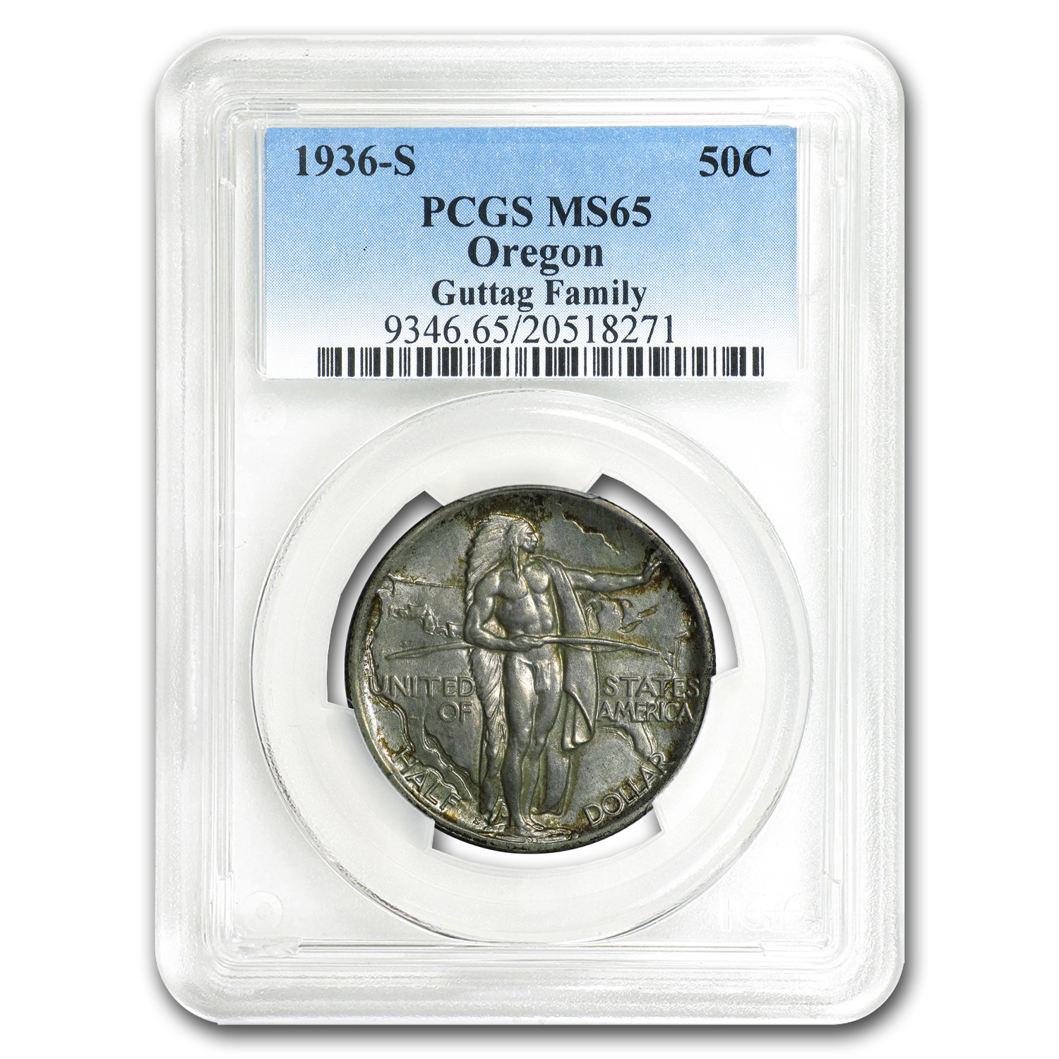 1936-S Oregon Trail Memorial Half Dollar MS-65 PCGS