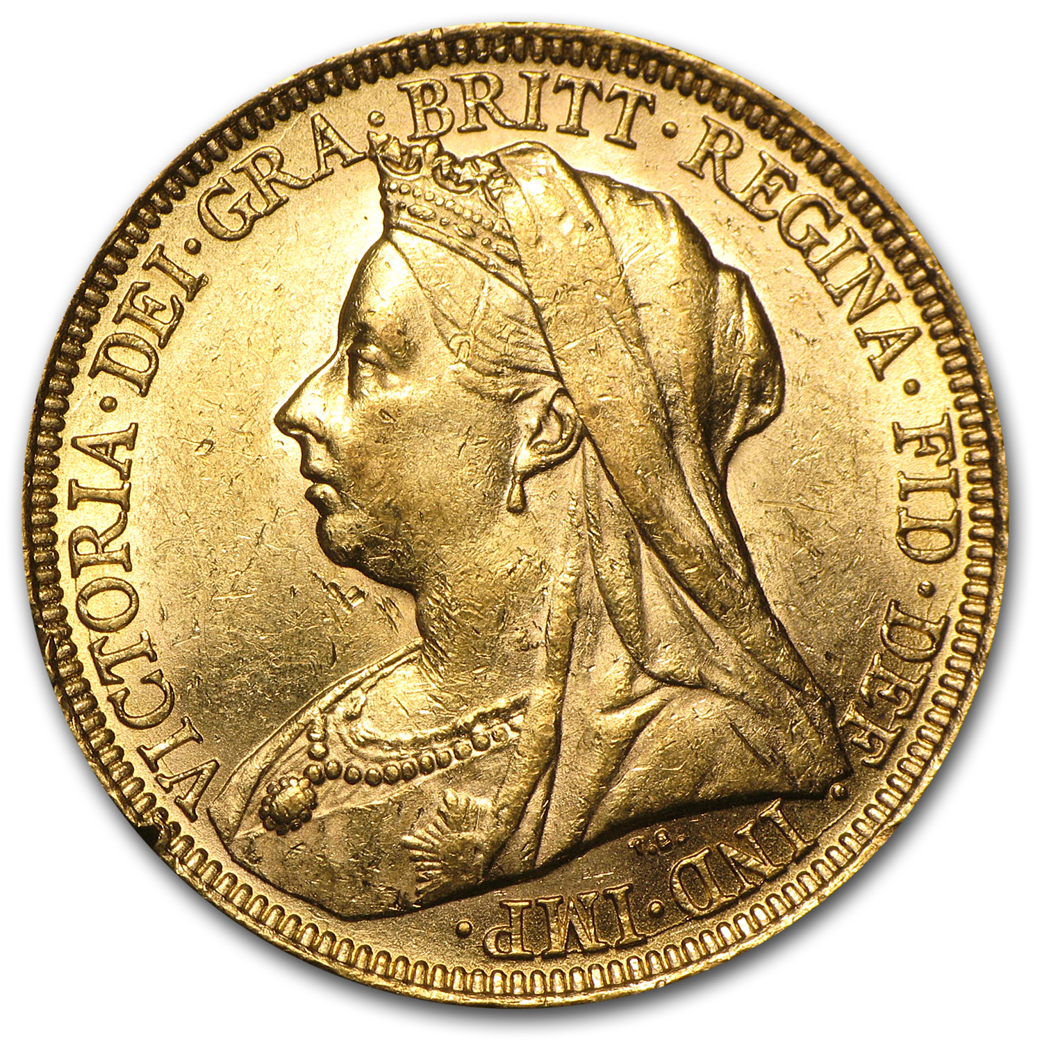 1893-1901 Great Britain Gold Sov Victoria Veil Head BU