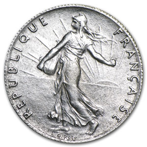 1904 France Silver 50 Centimes BU Sower
