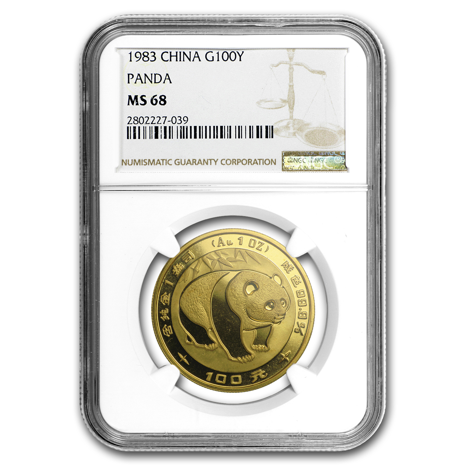 1983 China 1 oz Gold Panda MS-68 NGC