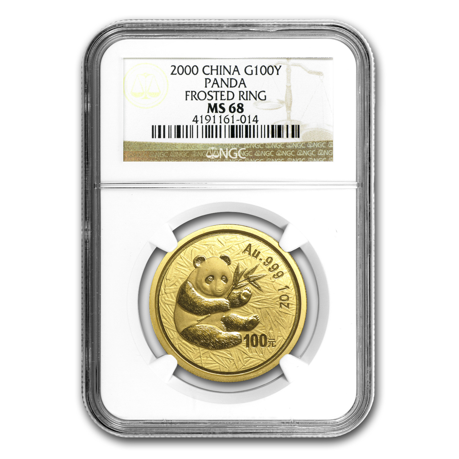 2000 China 1 oz Gold Panda Frosted Ring MS-68 NGC