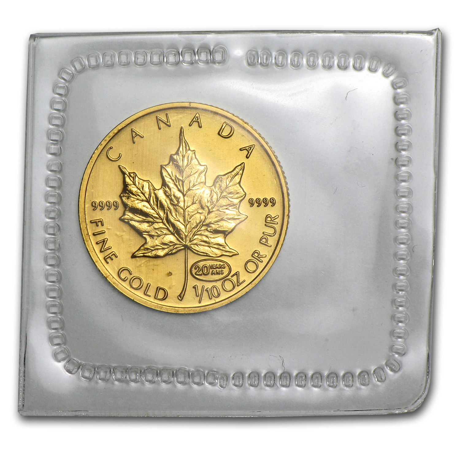 1999 1/10 oz 20 Years ANS Privy Gold Canadian Maple Leaf