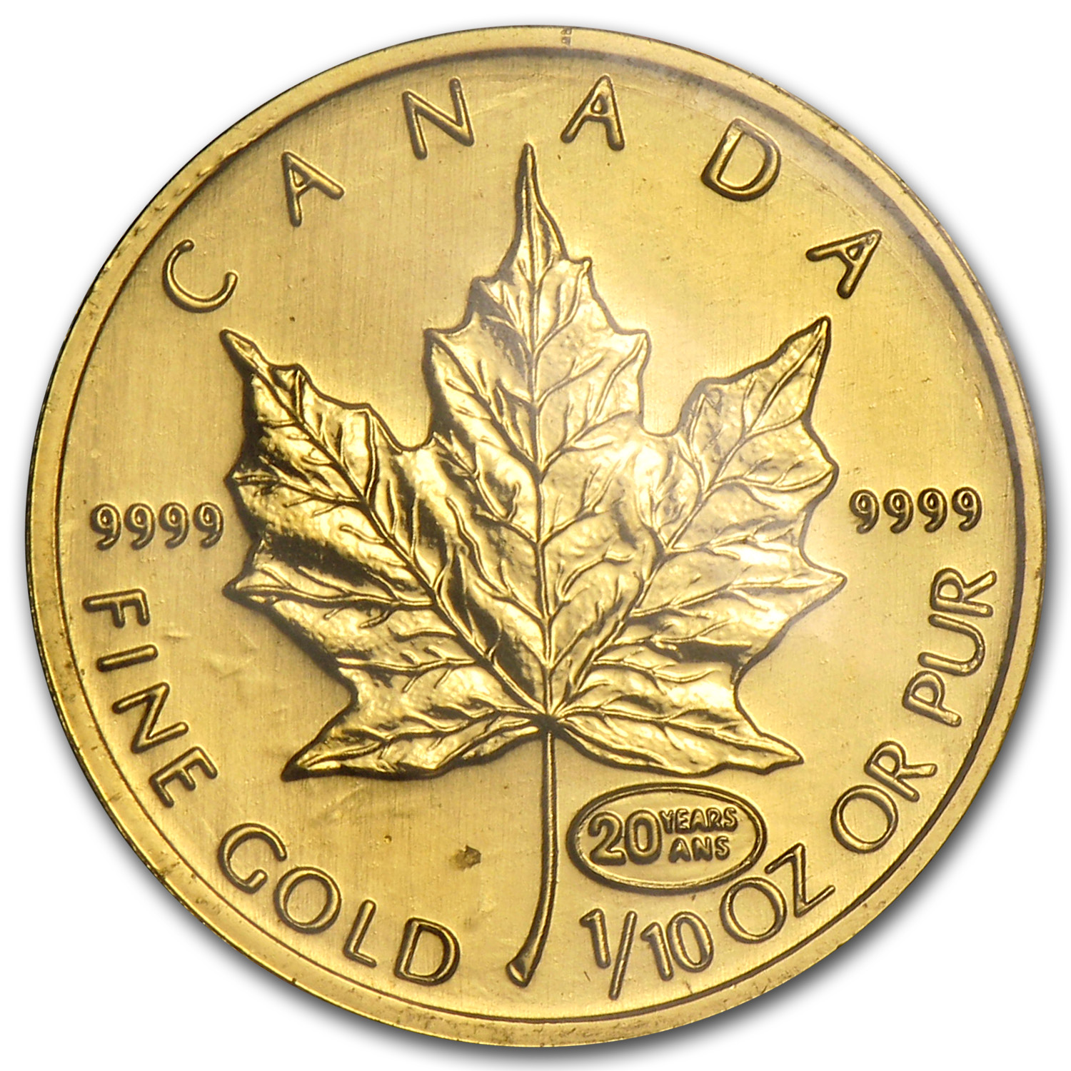 1999 Canada 1/10 oz Gold Maple Leaf BU (20 Years ANS Privy)