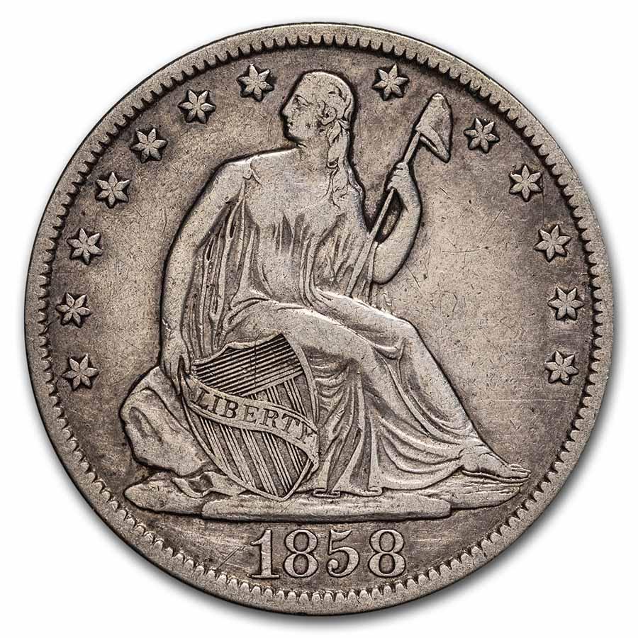 1858 O Liberty Seated Half Dollar Xf Liberty Seated Half